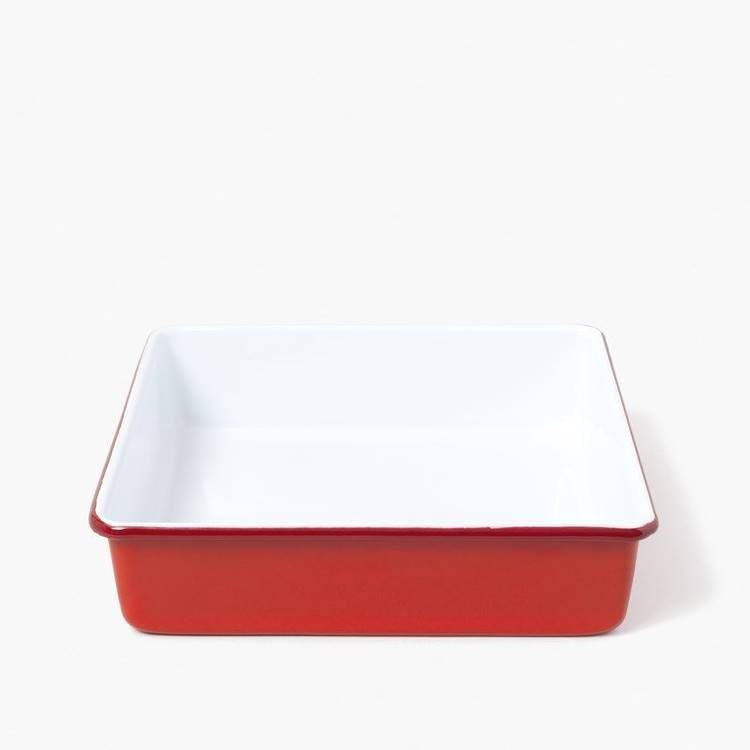 Red and white Enamel Square Baking Tray by Falcon Enamelware