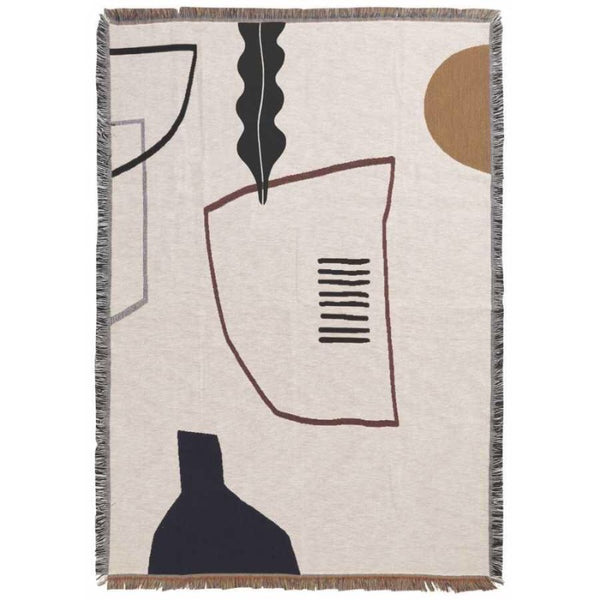 Ferm Living cotton Mirage blanket in off white, beige and black