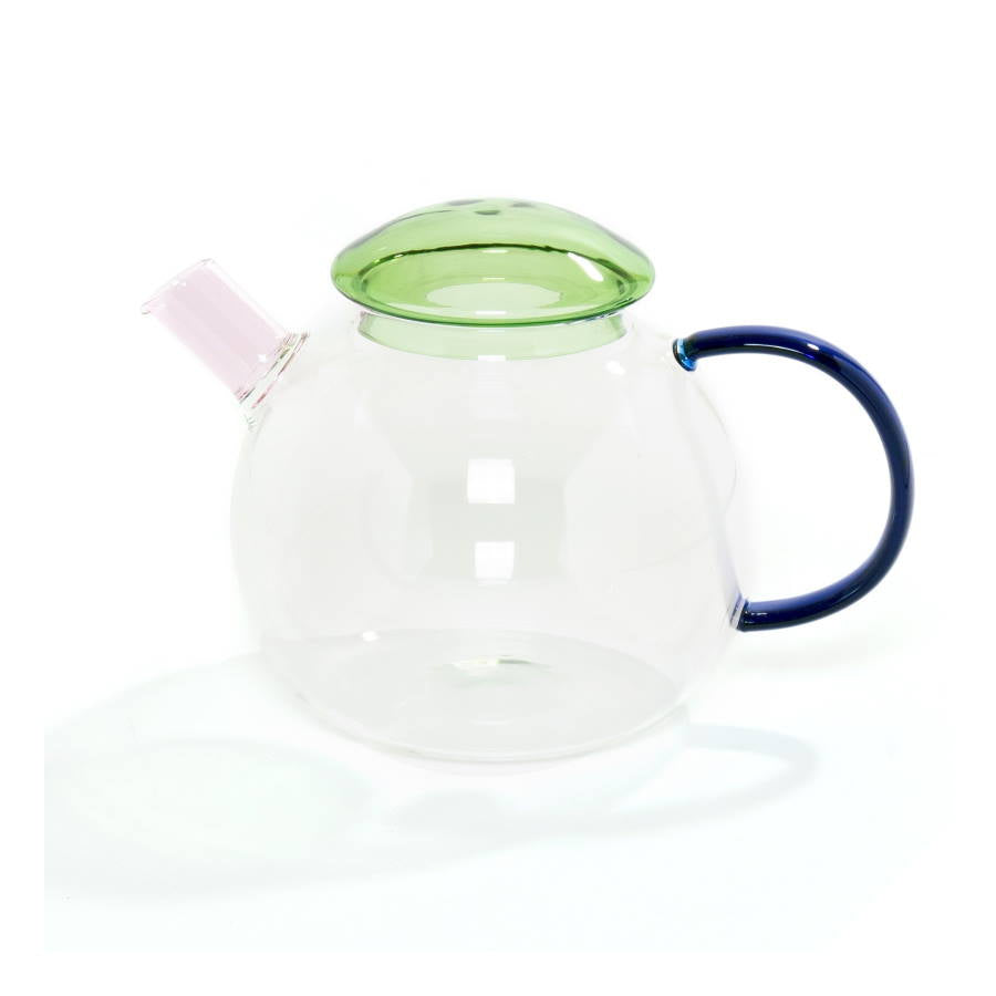 Borosilicate glass teapot with blue, green and pink details