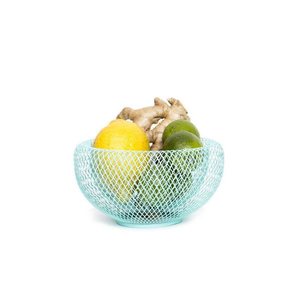 Turquoise powder coated steel mesh Nest Bowl 20cm by Fundamental Berlin