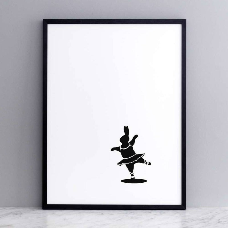HAM 30 x 40cm rabbit screen print ballet dancing