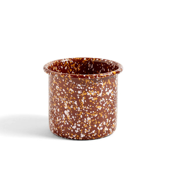 enamel herb pot in sprinkle brown