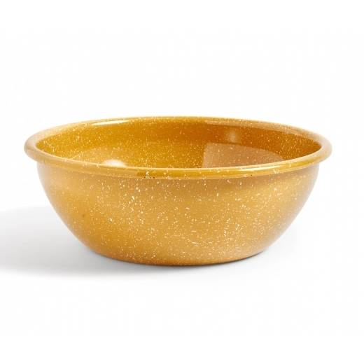 Mustard Speckled Enamel Salad Bowl by HAY