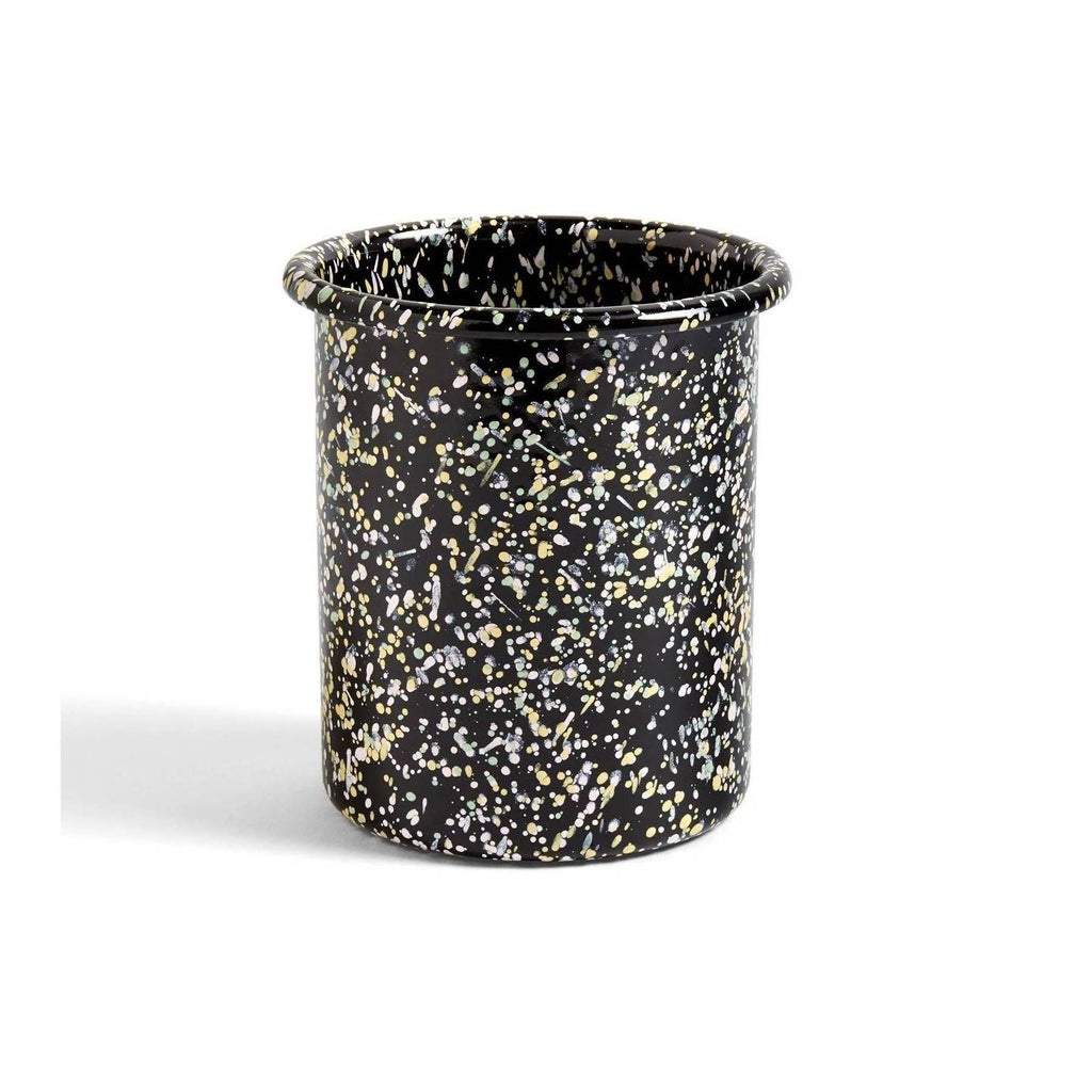 enamelware black speckled utensil pot