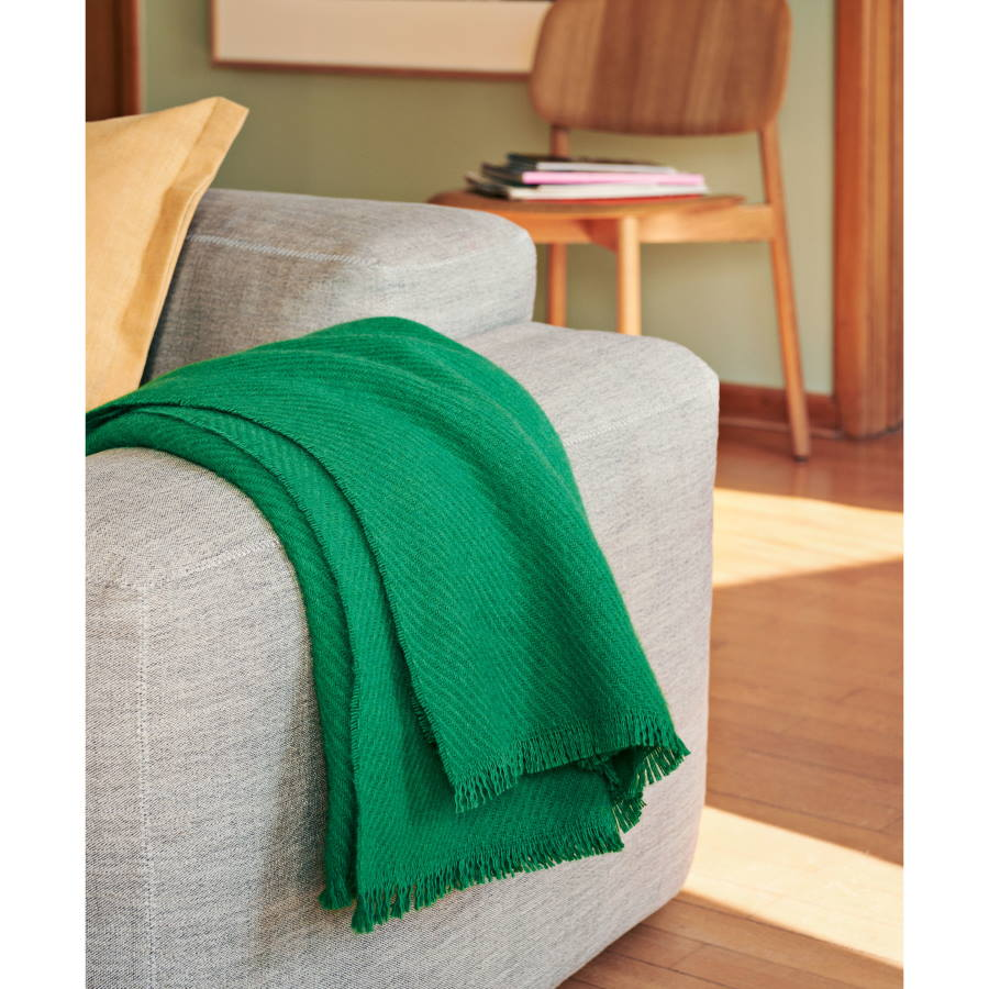 Soft wool blanket in grass green by Hay