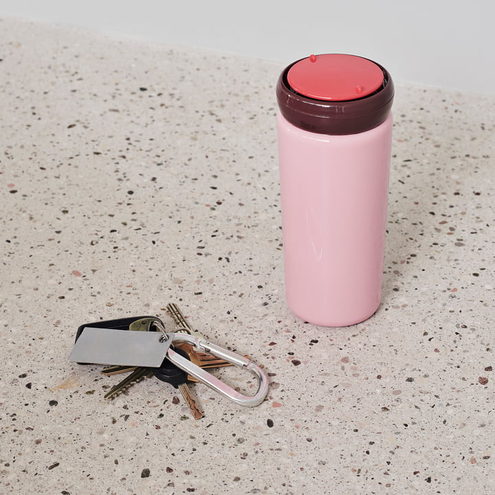 Pink travel cup designed by George Sowden