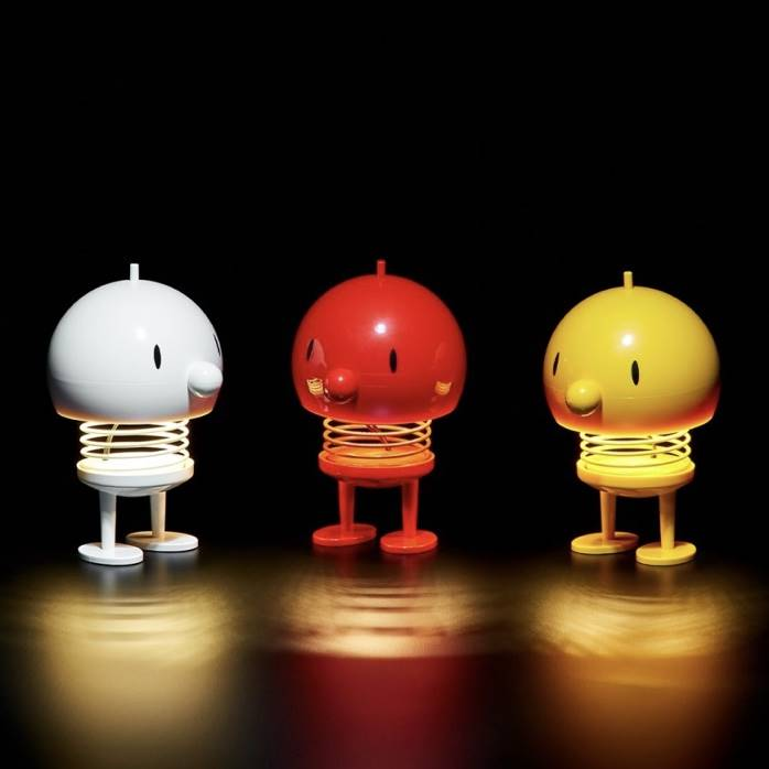 White, red and yellow Bumble Lamps Large