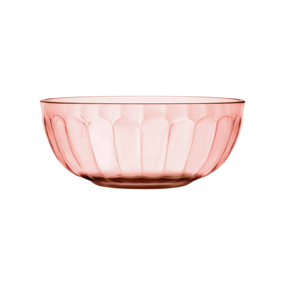 Salmon pink Raami glass bowl designed by Jasper Morrison for iittala