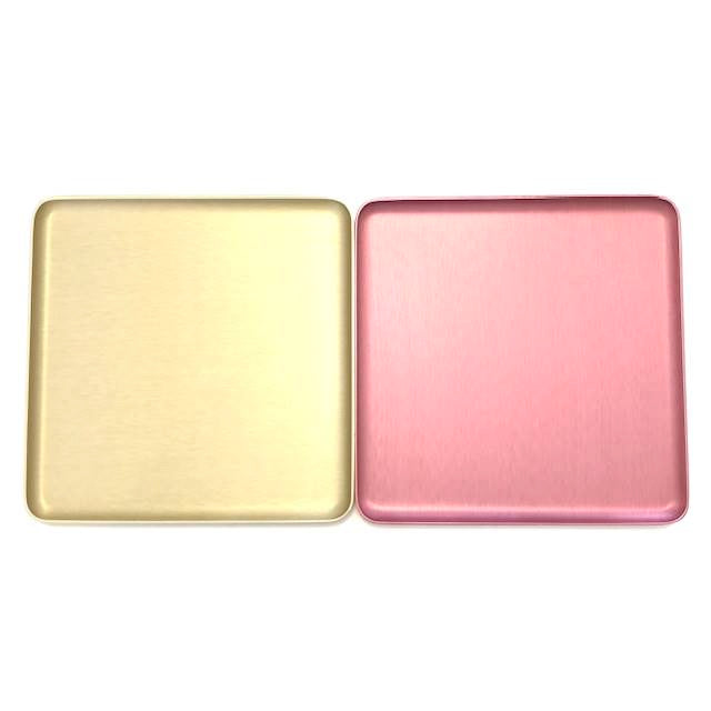 Brushed pink and champagne square aluminium dishes trays