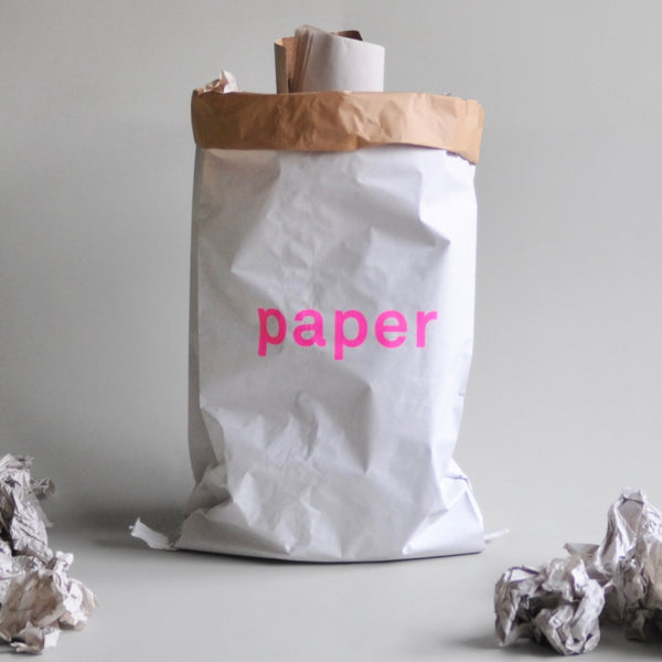 Paper Storage Bag Paper in pink lettering