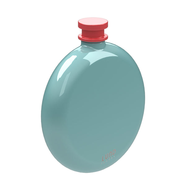 Skittle Round Hip Flask in mint and coral by Lund London