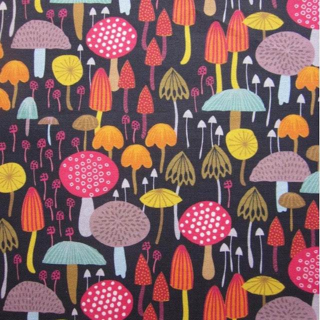 Maggie Magoo dark toadstools cotton tea towel