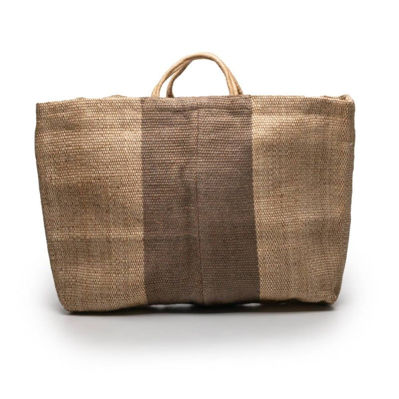 Maison Bengal extra large jute bag in natural with central grey stripe