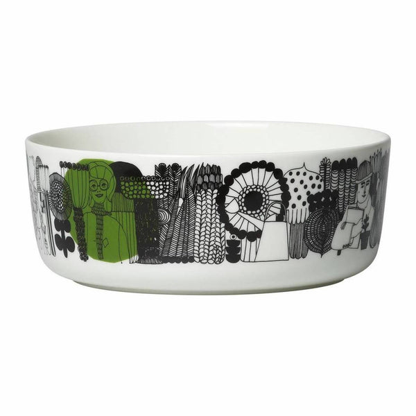 Marimekko Siirtolapuutarha ceramic bowl in white, black and green