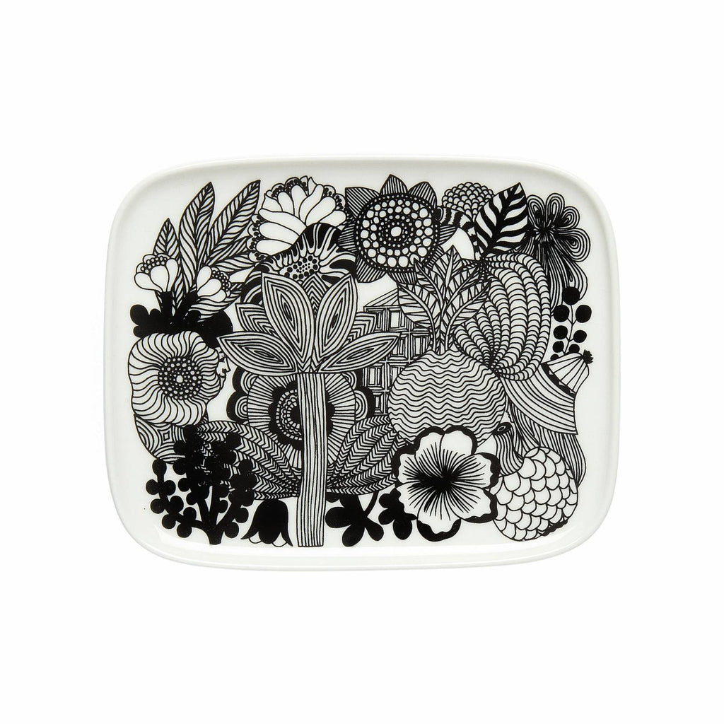 Marimekko Siirtolapuutarha rectangular plate 15x12cm in black and white