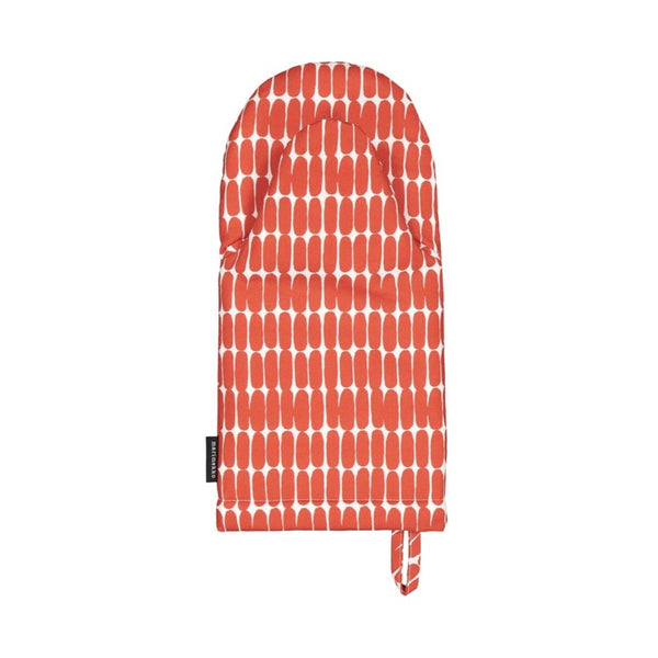Alku Oven Glove in white and red by Marimekko