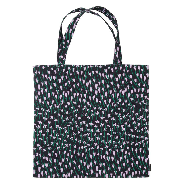 dark blue, lilac and green floral pattern cotton tote bag