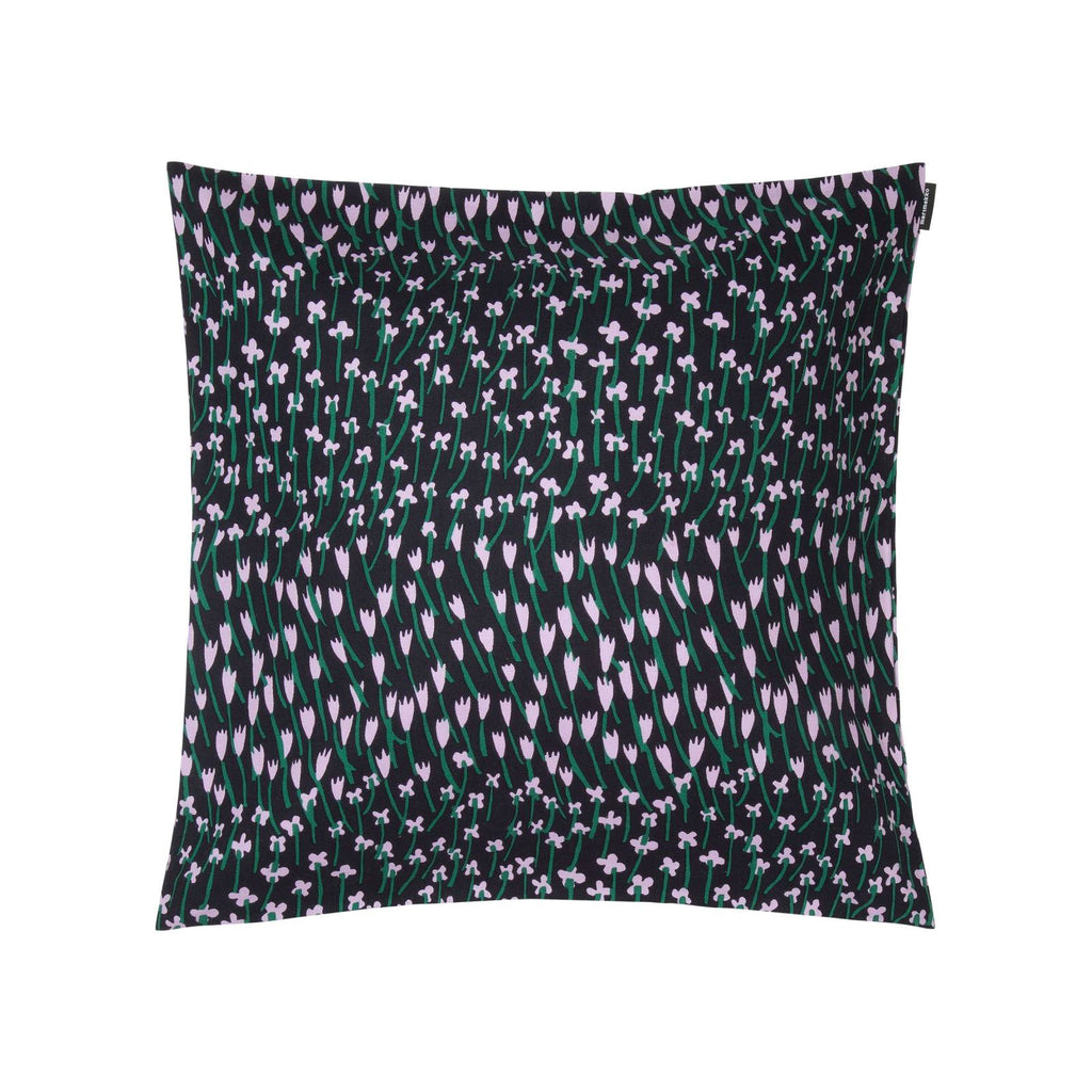 dark blue, lilac and green floral pattern cotton cushion