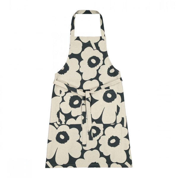 Marimekko Pieni Unikko pattern apron in dark green and off-white