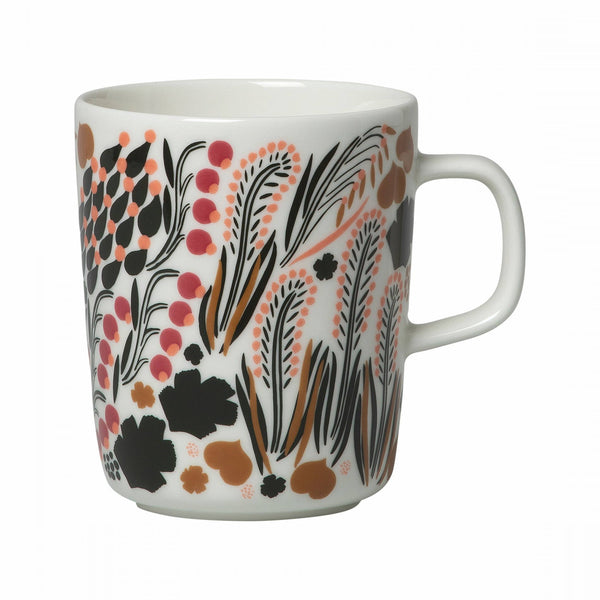 Marimekko ceramic mug in the letto pattern in white, green and black
