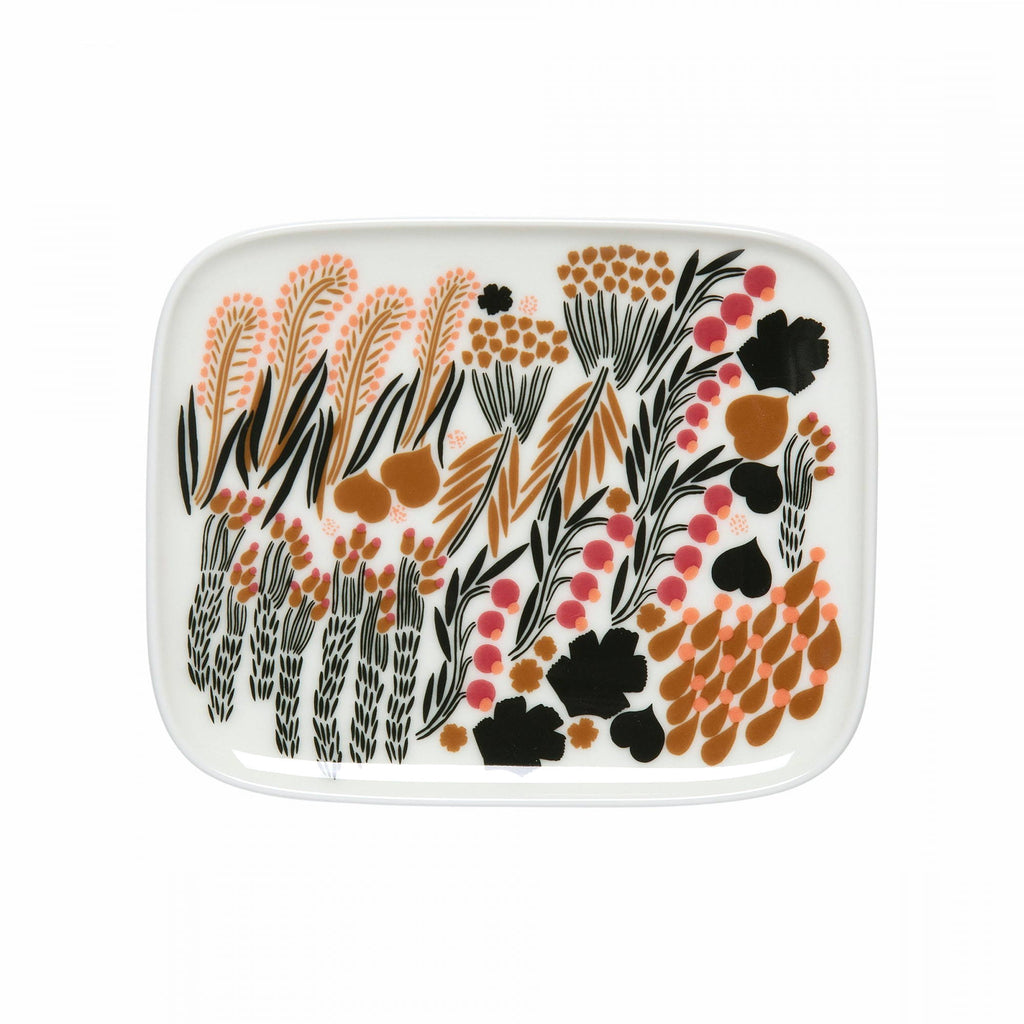 Marimekko ceramic plate in the Letto pattern in white, green and black