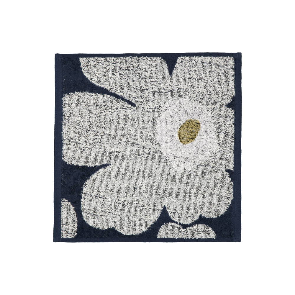 Unikko Mini Towel 30x30cm in navy and light grey by Marimekko