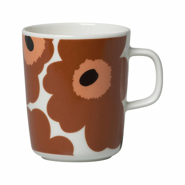 Marimekko ceramic Oiva Unikko mug in white, brown and black