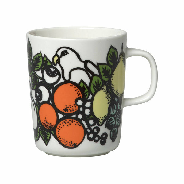 Marimekko ceramic mug in the Pala Taivasta pattern in white, green, orange and yellow