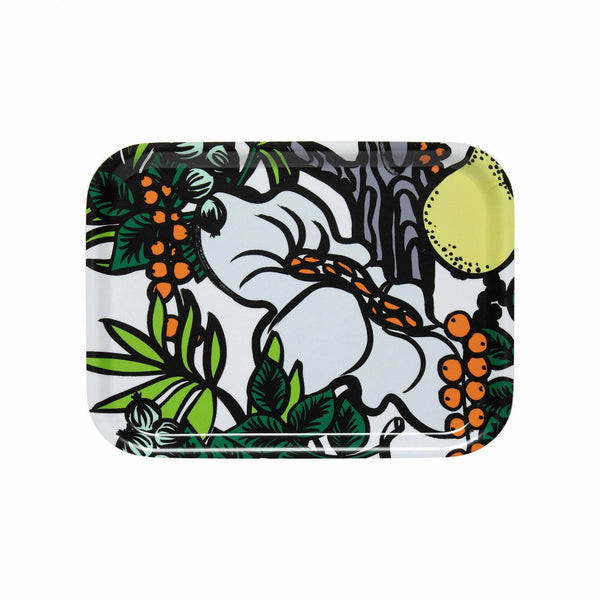 Marimekko birch plywood tray in the Pala Taivasta pattern in white, green, orange and yellow