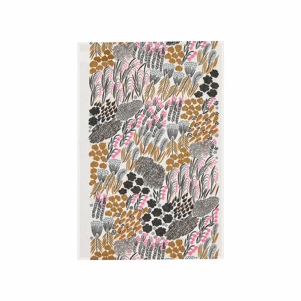 Cotton Marimekko tea towel in the Letto pattern in white, green, brown and pink