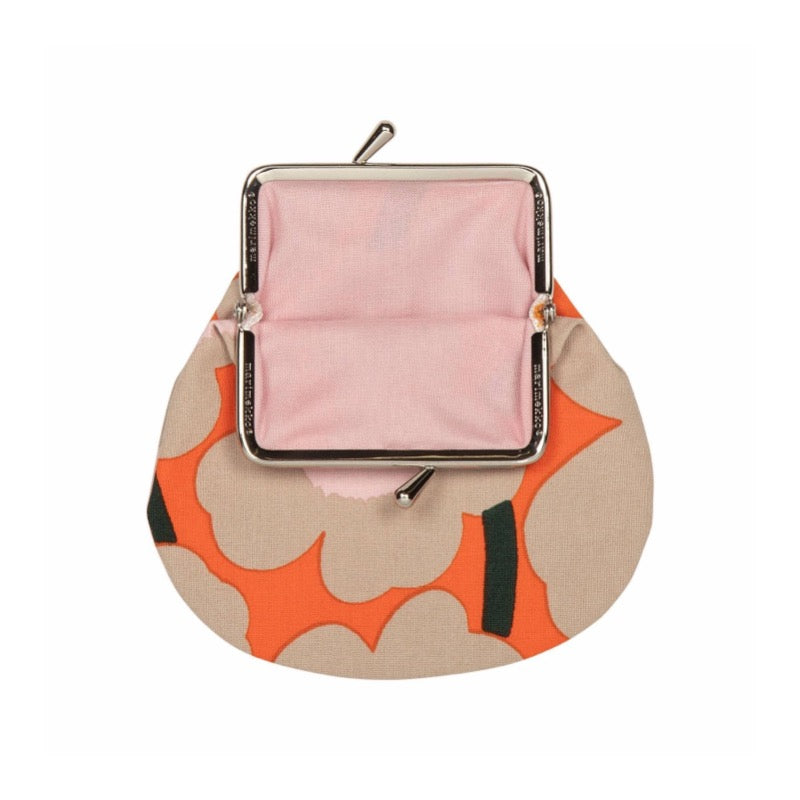Marimekko cotton purse in orange, beige and pink