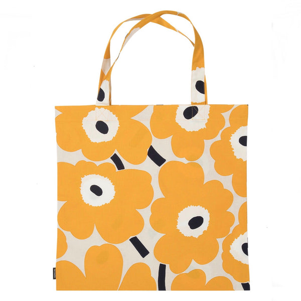 marimekko cotton tote bag in beige, yellow and dark blue Pieni Unikko pattern