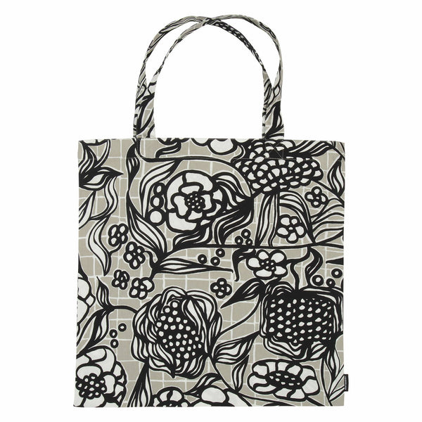 Marimekko cotton tote bag in Pikku Floristi pattern in light grey, black and white
