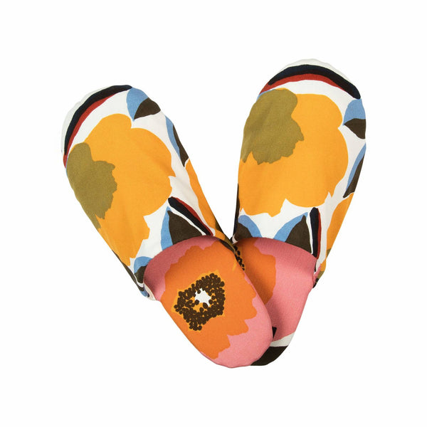 Marimekko Rosarium pattern slippers in white, red, yellow and blue