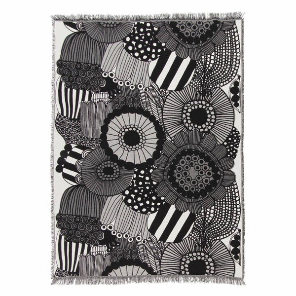 Marimekko Siirtolapuutarha Blanket 130x180cm in off-white and black