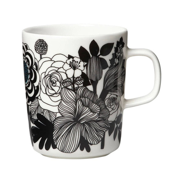 Marimekko Siirtolapuutarha Mug in white and black