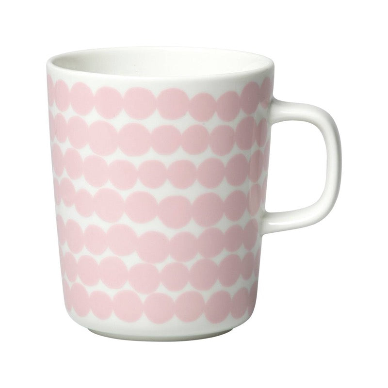 Marimekko ceramic mug in the Räsymatto pattern in white with pink dots