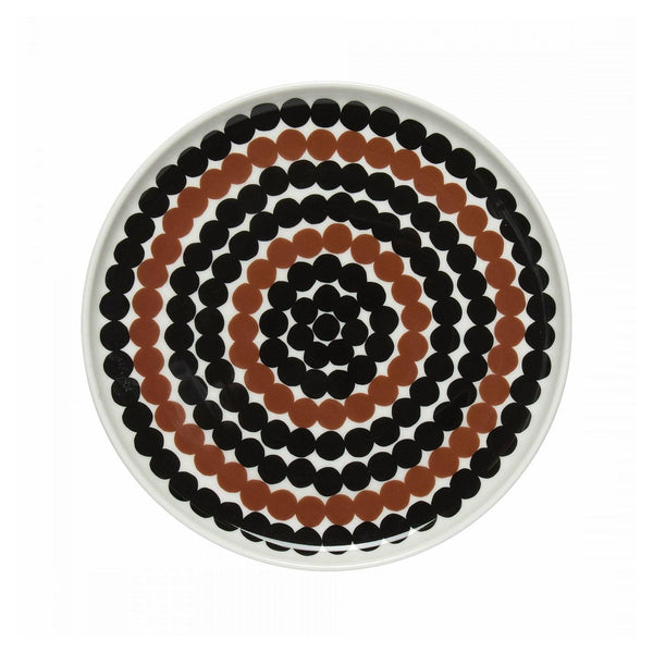 Siirtolapuutarha Plate 20cm in white, black and brown