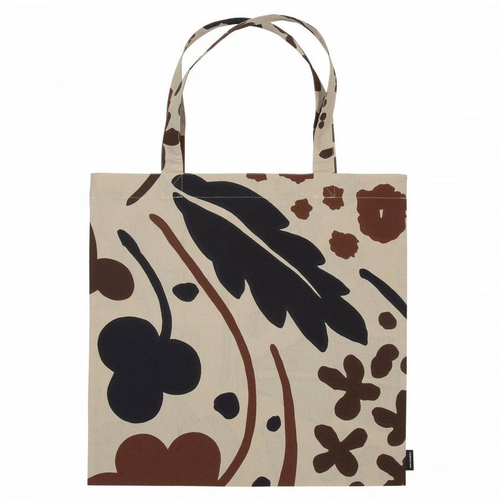Marimekko cotton Suvi pattern tote bag in beige, black and brown