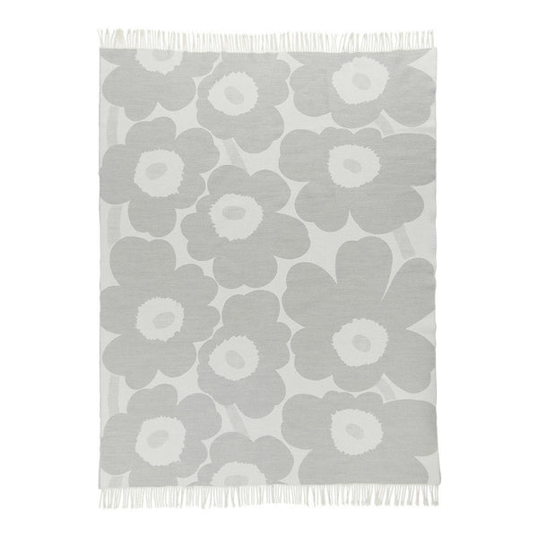 Marimekko Unikko blanket in off white and light grey