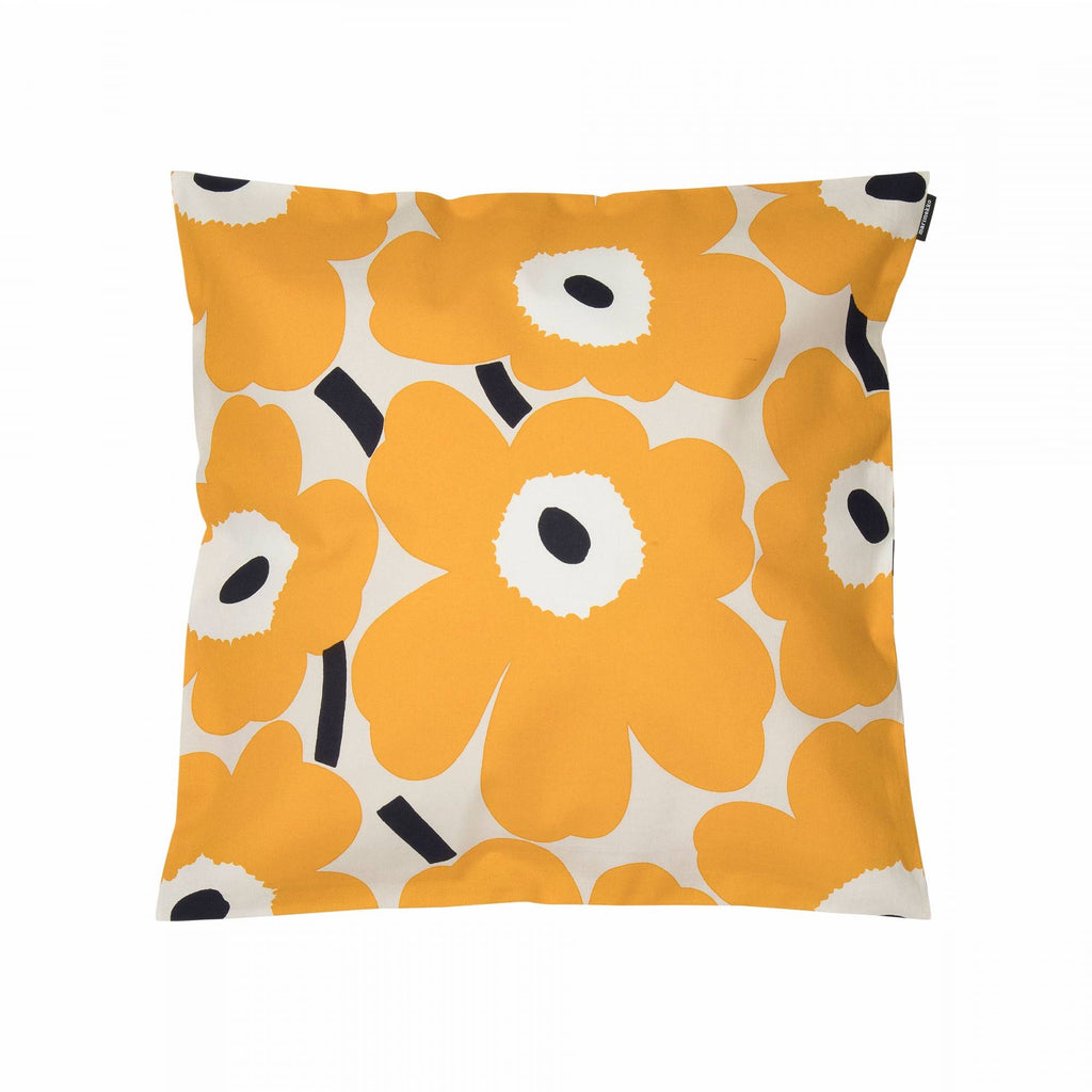 Marimekko cotton cushion in beige, yellow and dark blue Pieni Unikko pattern