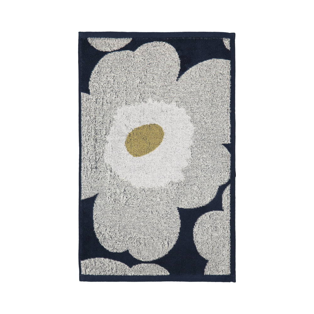 Unikko Guest Towel 30x50cm in navy and light grey by Marimekko