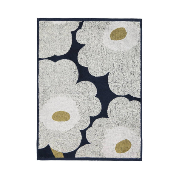 Unikko Hand Towel 50x70cm in navy and light grey by Marimekko