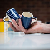 Ceramic espresso cups in blue stripe and wash