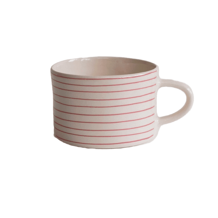 Ceramic thin rose striped mug