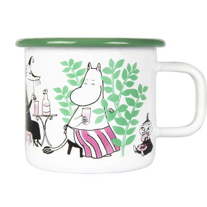 Moomin white and green Day In The Garden enamel mug
