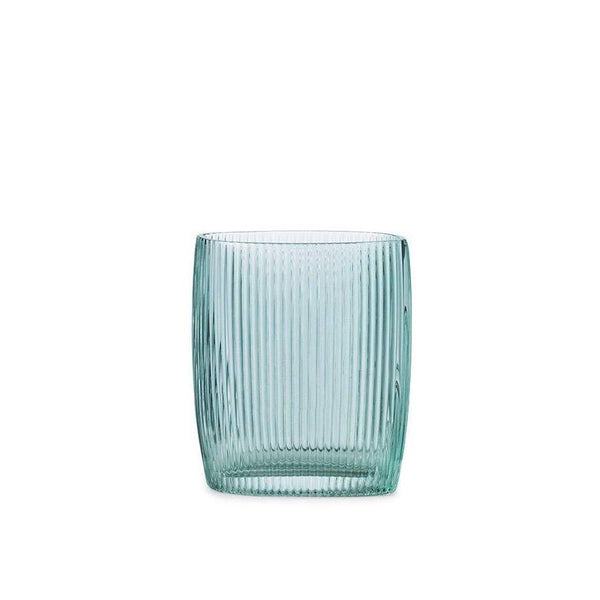 blue ridged glass vase