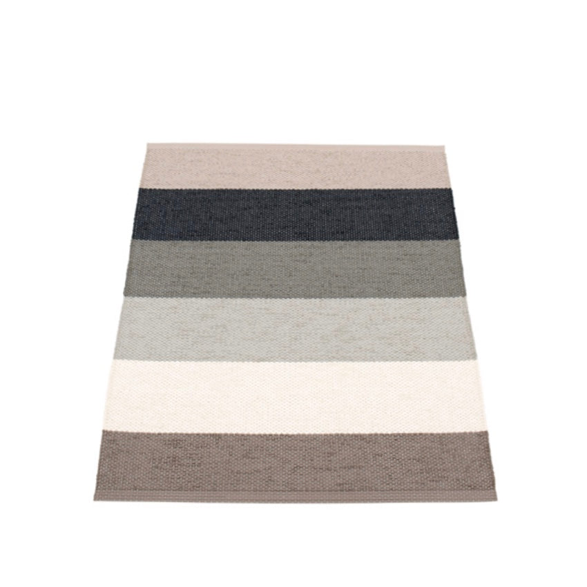 Pappelina Molly rug Mud in multicoloured stripes