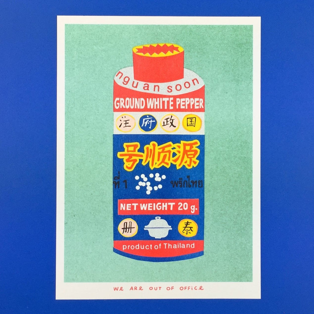 Multicoloured Riso print Can of Ground White Pepper 13 x 18 cm by We Are Out of Office