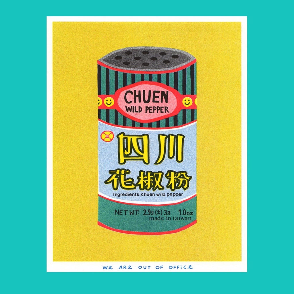 Multicoloured Riso print Chuen Pepper Can 13 x 18 cm by We Are Out of Office
